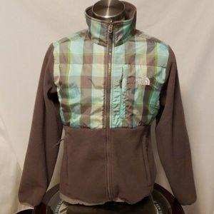 North Face Gray Fleece Plaid Jacket Size L